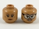 Part No: 3626cpb2214  Name: Minifigure, Head Dual Sided Female Reddish Brown Eyebrows, Neutral / Fierce with Goggles Pattern - Hollow Stud