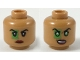 Part No: 3626cpb2232  Name: Minifigure, Head Dual Sided Female Black Eyebrows, Green Lantern Around Right Eye, Dark Red Lips, Neutral / Scowl with Green Eyes Pattern - Hollow Stud