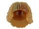 Part No: 38115pb01  Name: Minifigure, Hair Female, Bushy and Mid-Length, Dark Orange Headband with Olive Green Design Pattern