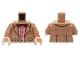 Part No: 973pb2182c01  Name: Torso Tweed Suit Jacket over Red Stripe Button Down Shirt and Dark Red Bow Tie Pattern / Medium Dark Flesh Arms / Light Flesh Hands