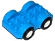 Part No: 11841c03  Name: Duplo Car Base 2 x 6 with Four Black Tires and White Wheels on Fixed Axles