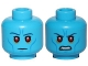 Part No: 3626cpb1708  Name: Minifig, Head Dual Sided Alien Dark Blue Eyebrows, Blue Cheek Lines, Red Eyes, Neutral / Angry Pattern (SW Admiral Thrawn) - Stud Recessed