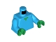 Part No: 973pb1814c01  Name: Torso Pixelated Green Neck Pattern (Minecraft) / Dark Azure Arms / Green Hands