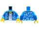 Part No: 973pb2731c01  Name: Torso Hawaiian Shirt Open with White Flowers over White Undershirt Pattern / Dark Azure Arms / Yellow Hands
