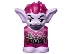 Part No: 28614pb07  Name: Body / Head Goblin with Pointed Ears and Magenta Spiked Hair and Tunic with Utility Belt with Goblin Eye Buckle, Knife and Keys Pattern