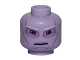 Part No: 3626cpb0840  Name: Minifig, Head Alien with SW Umbaran Soldier, Large Purple Eyes and White Eyebrows Pattern - Stud Recessed