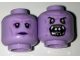Part No: 3626cpb1652  Name: Minifigure, Head Dual Sided Alien with Black Eyes, Purple Lips Neutral / Monster Open Mouth with Teeth, Fangs Pattern - Hollow Stud