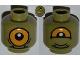 Part No: 3626bpb0837  Name: Minifigure, Head Dual Sided Alien with Lower Fangs, Single Orange Eye Open / Eye Half Closed Pattern - Blocked Open Stud