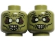 Part No: 3626cpb0731  Name: Minifigure, Head Dual Sided LotR Moria Orc White Eyes and Teeth, Wide Eyes / Narrow Eyes Pattern - Hollow Stud