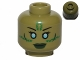 Part No: 3626cpb1007  Name: Minifig, Head Alien with Blue Eyes, Green Markings and Dark Green Lips Pattern (SW Jedi Consular) - Stud Recessed