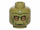 Part No: 3626cpb1042  Name: Minifig, Head Alien with SW Neimoidian Warrior Green Wrinkles Pattern - Stud Recessed
