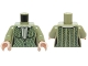Part No: 973pb2175c01  Name: Torso Female Outline, Green Cabled Cardigan Sweater with Collared Shirt Pattern / Olive Green Arms / Light Flesh Hands
