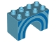 Part No: 11198pb01  Name: Duplo, Brick 2 x 4 x 2 Arch with Blue Half Circles Pattern