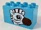 Part No: 31111pb050  Name: Duplo, Brick 2 x 4 x 2 with Zebra Head Pattern