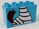 Part No: 31111pb051  Name: Duplo, Brick 2 x 4 x 2 with Zebra Body and Tail Pattern