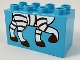 Part No: 31111pb052  Name: Duplo, Brick 2 x 4 x 2 with Zebra Feet Pattern