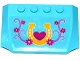 Part No: 52031pb109  Name: Wedge 4 x 6 x 2/3 Triple Curved with Horseshoe, Heart, Flowers and Stems Pattern (Sticker) - Set 41125