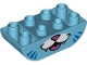 Part No: 98224pb004  Name: Duplo, Brick 2 x 4 Curved Bottom with Cat Mouth and 6 Whiskers Pattern
