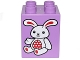 Part No: 31110pb133  Name: Duplo, Brick 2 x 2 x 2 with White and Red Bunny Rabbit Pattern (10845)