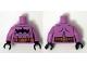 Part No: 973pb1923c01  Name: Torso Batman Logo Upside Down with Muscles and Gold Belt Pattern / Medium Lavender Arms / Black Hands