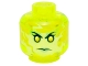 Part No: 3626cpb1391  Name: Minifig, Head Alien Female Ghost with Yellowish Green Face and Green Lips Pattern - Stud Recessed