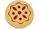 Part No: 14769pb046  Name: Tile, Round 2 x 2 with Bottom Stud Holder with Fruit Pie Pattern (Sticker) - Set 41074