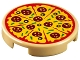 Part No: 14769pb160  Name: Tile, Round 2 x 2 with Bottom Stud Holder with Pizza Pepperoni and Olive with Slice Marks Pattern