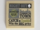 Part No: 3068bpb0598  Name: Tile 2 x 2 with Newspaper 'NIGHT OUT', 'MONSTER ROCK', 'Comes to TOWN' and 'CATCH a Zombie! Win the BIG price' Pattern (Sticker) - Set 10228