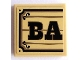 Part No: 3068bpb0821  Name: Tile 2 x 2 with Black 'BA' on Wood Plaque Background Pattern (Sticker) - Set 70800