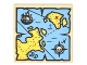 Part No: 3068bpb0929  Name: Tile 2 x 2 with Groove with Map Blue Water, Yellow Land, Compass, Pirate Ship and Red 'X' Pattern