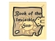 Part No: 3068bpb1018  Name: Tile 2 x 2 with Book Cover with Gold Clasp, Sun with Rays, and 'Book of the Invisible Sun' Pattern (Sticker) - Set 76060