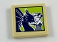 Part No: 3068bpb1123  Name: Tile 2 x 2 with Groove with Framed Picture of Dark Blue Dragon and Rosalyn Nightshade on Lime Background Pattern (Sticker) - Set 41187