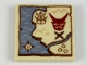 Part No: 3068bpb1142  Name: Tile 2 x 2 with Groove with Treasure Map with Sand Blue Water, Dark Gray X, Dark Red Mask Pattern