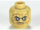 Part No: 3626cpb0632  Name: Minifig, Head PotC Davy Jones Silver Eyes and Furrowed Brow Pattern - Hollow Stud