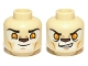 Part No: 3626cpb0892  Name: Minifig, Head Dual Sided Alien Chima Lion with Orange Eyes and Brown Nose, Closed Mouth / Open Mouth Pattern (Laval) - Stud Recessed