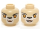 Part No: 3626cpb1141  Name: Minifig, Head Dual Sided Alien Chima Lion Female Bright Light Orange Eyes, Black Nose, Neutral / Crooked Smile Pattern (Li'Ella) - Stud Recessed