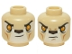 Part No: 3626cpb1224  Name: Minifig, Head Dual Sided Alien Chima Lion with Orange Eyes and Dark Brown Nose, Neutral / Stern Pattern - Stud Recessed