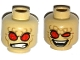 Part No: 3626cpb1585  Name: Minifigure, Head Dual Sided Alien with Red Eyes, Dark Tan Wrinkles, Angry Clenched Teeth / Evil Smile Pattern - Hollow Stud