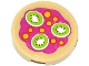 Part No: 4150pb161  Name: Tile, Round 2 x 2 with Yellow Spots and 3 Kiwi Fruit Slices Pattern (Sticker) - Set 41033