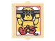 Part No: 60601pb016  Name: Glass for Window 1 x 2 x 2 Flat Front with Photo with Shirtless Ninja Holding Nunchucks, Red Border and Asian Characters Pattern (Sticker) - Set 70620