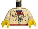 Part No: 973pa6c01  Name: Torso Adventurers Desert Safari Shirt, Blue Neck, Red Bandana, Compass Pattern / Tan Arms / Yellow Hands