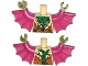 Part No: 973pb1664c01  Name: Torso Bat with Vestigial Minifig Arms, Green and Purple Vein and Dark Orange Fur Pattern / Magenta Arms with Wings / Olive Green Hands