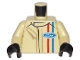 Part No: 973pb2634c01  Name: Torso Race Suit with Ford Logo and Red and Blue Stripes on Front and Back Pattern / Tan Arms / Black Hands
