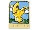 Part No: dupstr02  Name: Storybuilder Meet the Dinosaur Card with Yellow Pteranodon Pattern