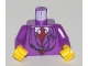 Part No: 973px175c01  Name: Torso Harry Potter Quirrell Pattern / Purple Arms / Yellow Hands