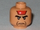 Part No: 3626bpb0378  Name: Minifigure, Head Male Angry Black Eyebrows, Red Paint on Forehead, Jowl Lines Pattern - Blocked Open Stud