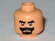 Part No: 3626bpb0380  Name: Minifig, Head Beard Black Van Dyke with Thick Black Moustache and Eyebrows Pattern - Blocked Open Stud