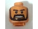 Part No: 3626bpb0384  Name: Minifig, Head Beard Dark Brown, White Pupils and Grin with Teeth Pattern - Blocked Open Stud