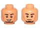 Part No: 3626cpb1111  Name: Minifig, Head Dual Sided Male Black Eyebrows, Goatee, Cheek Lines, Smile / Neutral Pattern (SW Kanan Jarrus) - Stud Recessed