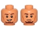 Part No: 3626cpb1191  Name: Minifigure, Head Dual Sided Male Dark Brown Eyebrows, Goatee, Cheek Lines, Smile / Neutral Pattern (SW Kanan Jarrus) - Hollow Stud